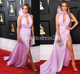 Wholesale Evening Dress Jennifer - Jennifer Lopez Sexy Lilac Chiffon High Slit Red Carpet Prom Evening Dresses 2017 Deep V-Neck Mermaid Dress for Celebrity Party Gowns