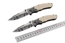 Wholesale Self Closing - Promotion F91 Folder EDC Folding Pocket Knife G10 Handle Damascus Pattern Blade 4.53 Inch Closed Survival Outdoor Gear B128L