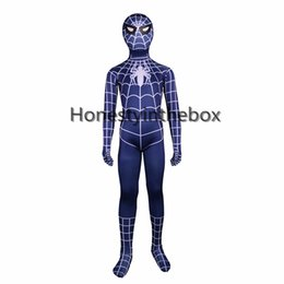 Wholesale Halloween Costumes Blue Men - Brand New 2017 Children Blue Spiderman Costumes Lycra Spandex Superhero Spider man Zentai Bodysuit For Halloween