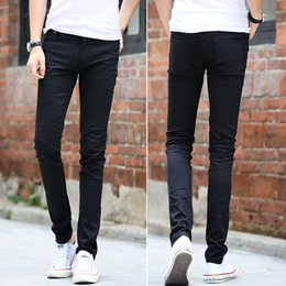 Wholesale Tight Cowboy - Wholesale-Mens tight stretch pants Slim Jeans autumn fashion cowboy skinny pencil pants homme casual jeans black demin trousers