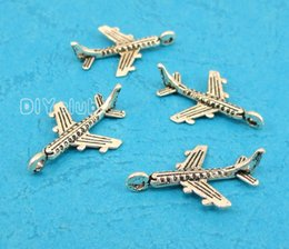Wholesale Airplane Antiques - 120pcs-Antique Silver Tiny Aircraft Charms Pendant, Airplane Charms 22x14mm Pendant Handmade Lovely Connector DIY Jewelry Making