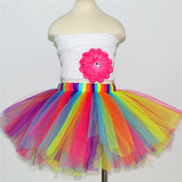 Wholesale Short Rainbow Tulle - Lovely Multi Color Tulle A Line Girl Skirts Petticoats Rainbow Tutu Underskirt Short Skirts Petticoats Crinoline Kids Gowns 2017 In Stock