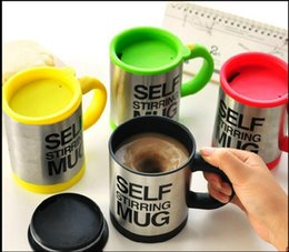 Wholesale self mixing cup - Lazy Self Stirring Mug Automatic Electric Coffee Tea Mixing Cup With Lid Stainless Steel 350ml Creative Drinkware