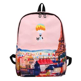 Wholesale Balloon Print Dress - Brand Hot Balloon Cute Animal Embroidery Canvas Backpack Landscape Printing Teenagers School Bag Casual Large Travel Bag Mochila