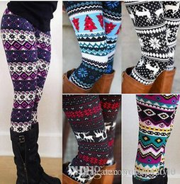 Wholesale Girls Fleece Pants - 2017 High Quality Comfortable Women girl casual Winter Christmas Snowflake Knitted Elastic printed Leggings Fitness Cotton Pants 20170925