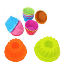 Wholesale Pumpkin Baking - Wholesale- 12pc lot Cake Tool Molding 6pcs Round Silicone Muffin 6pcs Pumpkin Shape Silicone Cake Baking Mold