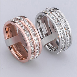 Wholesale Square Charms Ring - 2017 Trendy Party Jewelry Bijoux Double Row Rings for Women Fashion Jewelry Charm Square CZ Crystal Atmospheric Masonry Rings
