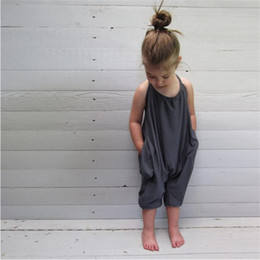 Wholesale Harem Pants For Toddlers - INS Summer Kids Baby Cotton Black Pink Jumpsuits Toddler Boys Girls Romper Playsuit Blackless Harem Trouser Long Pant for 2-8years