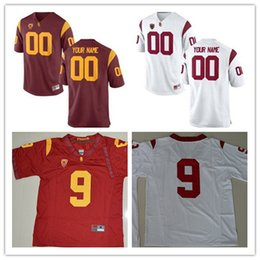 Wholesale 32 Shorts - Custom USC Trojans College Football Jersey Mens Limited White Red Personalized Stitched Any Name Number 9 32 42 55 #14 Darnold Jerseys S-3XL