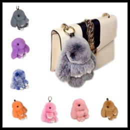 Wholesale Antique Jade - New Pendant Bunny 13cm 18cm Rex Rabbit Fur Handbag Keychain Pom Poms Key Chain Xmas Gift 40 Colors