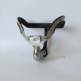 fodera nera New Male Model-T T4 Cintura di castità curvo regolabile in acciaio inossidabile Dispositivo urinate foro BDSM Enforcer Giocattolo del sesso per gli uomini cheap enforcer device da dispositivo enforcer fornitori