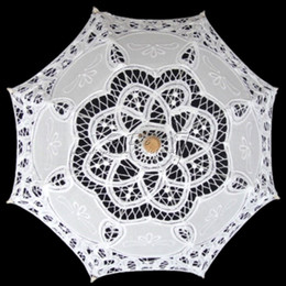 Wholesale Lace Parasols For Weddings - Wholesale- Free Shipping 25cm Radius Handmade Cotton Embroidery White Wedding Lace Parasol for Flower Girl Wedding Decor Wedding Umbrella