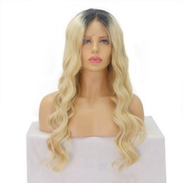 Wholesale Lace Front Wigs Color 613 - 1B 613 color hair Wigs Water wave Blonde Ombre Full Lace Wig front lace With Bleached Knots baby hair 130 Density