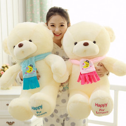Wholesale Scarfs Bear For Kids - Christmas Gift NEW 30CM 45cm 65cm 80cm pp cotton kid toys plush doll Large Stuffed Animals bear with scarf Plush Toys for wedding