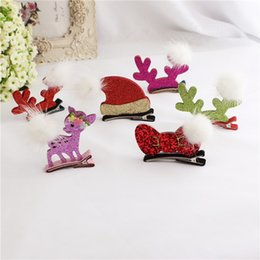Wholesale Hairclip Hairpin - Cute Christmas Baby Kids Hair Clips Deer Hairpins Accessories BB Hair Ornaments Bows Hairclip Kids Gift