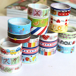 Wholesale Selling Decorative Tape - Wholesale- 2016 10pcs Hot Selling DIY Stationery Scrapbooking Sticker Cartoon Adhesive Masking Tape Decorative Sealing Tape