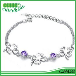 Wholesale Silver Chain Bracelete - CJW032 Free Shipping Silver Plated Lobster Clasp Four Leaf Fancy Link Chain Bracelete
