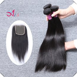 """Wholesale great remy hair - Double Weft Human Hair Weave Great Quality Brazilain Virgin Remy Straight Human Hair Bundles Extensions 8-28"""" 3pcs With a 4*4 Closure"""