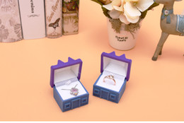 Canada [Simple Seven] Cute Blue / Purple House Ring Box Plastic Flocage Collier Display Ear Studs Case Jewerly Container Offre