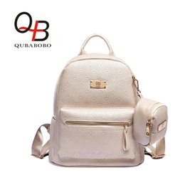 Wholesale Female Popping - Wholesale- QUABOBO Two-in-one Japan Style Backpack pop PU Leather Backpack Decorated Embossed For Women   Girls Female Backpack BT0000123