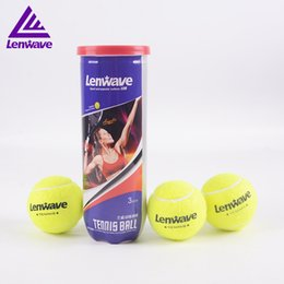 Wholesale Tennis Balls Brands - Wholesale- 3 pcs set Lenwave Brand high elasticity tennis ball training fluorescence color durable Belt line tennis training ball