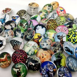 Wholesale Dog Ring Jewelry - Hot Sale 30pcs 18mm Snap Button Ginger Snap Jewelry Glass Snap Chunk Button Animal Mix Style Dog Butterfly Horse Cat Etc Wholesale Lots