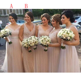 Wholesale Gold Rose Bride Dress - A-line 2016 wedding guest dress rose gold country bridesmaid dresses V-neck mother of the bride Long Lace evening dresses 2017
