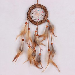 Wholesale Wood Craft Wall Art - Handmade Gemstone Chips Dream Catcher Nest Brown Feather Wall Hanging Home Decoration Ornament Craft