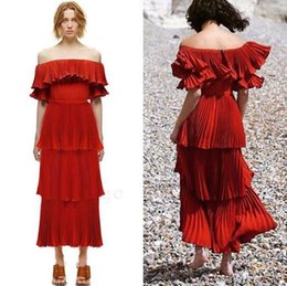 Wholesale Dresses For Prom Maxi - 2017 Rust Red Ruffles Pleated Cheap Evening Dresses Off the Shoulder Fashion Chiffon Layered Tea Length Maxi Dresses For Womens