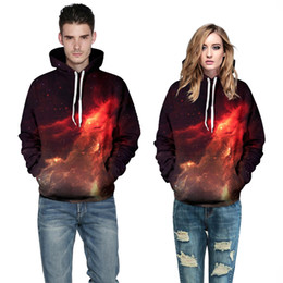 Wholesale Galaxy Print Jackets - Wholesale-2016 Women Men Galaxy 3D Print Jumpers Sweatshirt Outfit Casual Hoodies Red Blue Cool Northern Lights Jacket Dropship 2 Patterns
