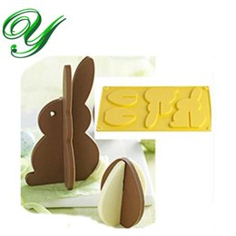 Wholesale Silicone Chocolate Easter Egg Moulds - Chocolate mold silicone 3D standing Easter Egg bunny cookie mould Cake mold stand Bakeware 17cm cookie Maker Baking Fondant styling tools