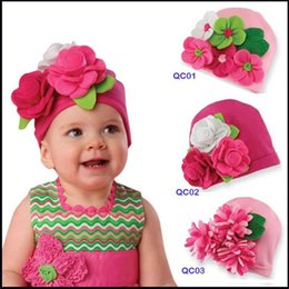 Wholesale Knit Baby Fedora Hats - NEW designs baby hats baby cute hats kids cap Baby flower knitted cap infant hats