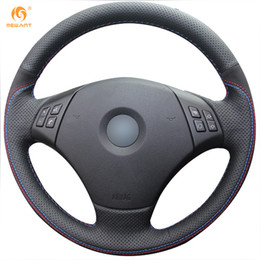 Wholesale Bmw Steering Wheel Cover - Mewant Black Genuine Leather Black Suede Car Steering Wheel Cover for BMW E90 320 318i 320i 325i 330i 320d X1