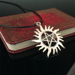 Wholesale Supernatural Tv Series - Wholesale- Daren Wholesale Supernatural Pentacle Letter Pendant Necklace For Men The TV series Supernatural Sun Star Necklace & Pendant