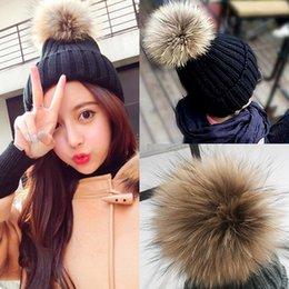 Wholesale Balls For Tennis - Fur Ball Cap Pom poms Winter Hat for Women girl 's Hat Knitted Beanies Cap Brand New Thick Female Cap
