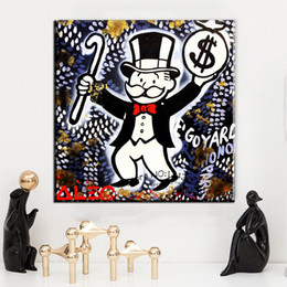 Wholesale Cheap Wall Art Paintings - ZZ1481 Alec monopoly 098 wall street arts canvas print POP ART Giclee poster print on canvas for wall decoration painting cheap arts