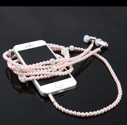 Wholesale Cell Headphone Plug - Fashion Bling Diamond Pearl Necklace Earphones 3.5mm Plug In-ear Headphone With Mic Hi-Fi Wired Stereo headset For Smart Phone