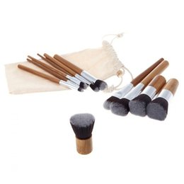 Wholesale Eyeshadow Brush Bamboo - 11 pcs Make up Brushes Bamboo brush Make up Tools Powder Blush Eyeshadow Make Up Brushes