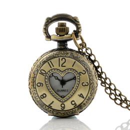 Wholesale Heart Shaped Watch Necklace - Wholesale-Wholesale Prices Bronze Heart Shape Hollow Samll Quartz Pocket Watch Women Antique Pendant Necklace Chain Gift P901