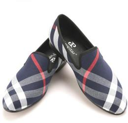 Wholesale Men S Black Loafers - Blue and white plaid canvas shoes luxurious brand men loafers black pig leather insole men 's casual shoes men's flats