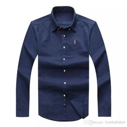 Wholesale Shirt Drop Shipping - Drop Shipping 2017 Autumn Men's long sleeved Slim Fit Shirts Men USA Brand POLO Shirts Fashion 100% Oxford Casual Shirt Small Horse Clothes