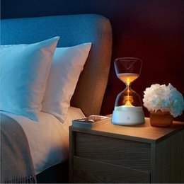 Wholesale Table Clocks Timer - Colorful Sand Clock Glass Timer Night Light Bedside Sleeping Table Lamp Touch Senso Lamp Color Changed Decoration LED Sandglass Gift Light