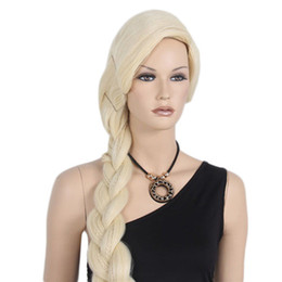 Wholesale Cheap Braided Wigs - Long Frozen Cosplay Braid Curly Braids Cheap Wig Synthetic Hair Wigs Side Bang Beige Wig for Black Women Heat Resistant