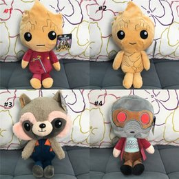 Wholesale Plush Raccoon Toy - Guardians of the Galaxy Plush Toys Cartoon Groot Treeman Raccoon Stuffed Animal Movie Doll Baby Toy gifts 4 Designs b1198