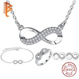 Wholesale Infinity Necklaces For Women - BELAWANG 925 Sterling Silver CZ Wedding Jewelry Set for Women Infinity Pendant Necklace Bracelet Ring Earrings Wedding Valentine's Day Gift