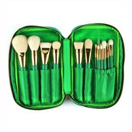 Wholesale goat bags - 15pcs Makeup Brushes Green Cosmetics Brush Set with Bag Goat Hair Foundation Powder Blush Eyeshadow Make Up Brushes Tools Kit
