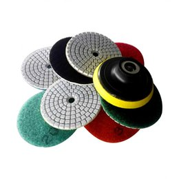 """Wholesale Grind Disc - 9pcs set 3""""(80mm) 4""""(100mm) Assorted Diamond Polishing Pads Wet Grinding Disc for Marble Stone Glass Ceramics Back-up Pad Sent"""