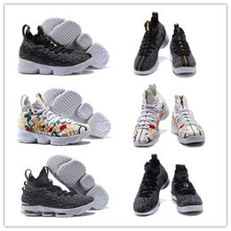 Wholesale Black Zipper Shoes - 2017 KITH x James 15 Zipper Floral LONG LIVE THE KING Basketball Shoes,Fashion 15s Ashes Black Black-White Basketball Sneakers With Box