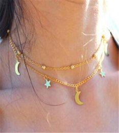 Wholesale Sweet Tins - Vintage Simple Double Layer Choker Necklace Sweet Star Moon Pendant Necklaces Gold & Silver Plated Bead Charm Chokers Fine Jewelry A121