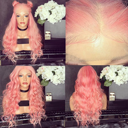 pink full lace human hair wigs Coupons - Lace Front Human Hair Wigs Pure Pink Wavy Brazilian Virgin Human Hair 130 Density Lace Front wig With Baby Hair Bleached Knots